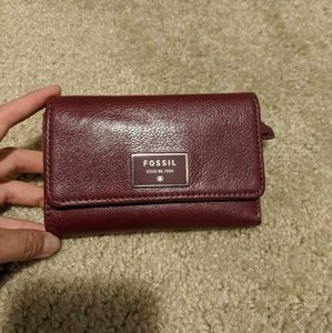 Fossil oxblood leather wallet